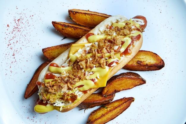Appetitoso classico hot dog americano con cipolle caramellate, formaggio cheddar, senape e ketchup con contorno di patate