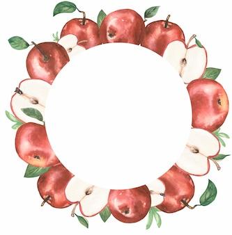 Apple clipart, corona di mele rosse dell'acquerello, clipart di frutta botanica biologica, raccolta del giardino, invito a nozze, stampa tessile, logo design