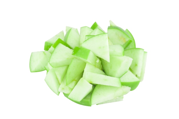 Pezzo di pila verde mela isolato su sfondo bianco