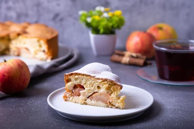 Torta di mele charlotte cosparsa di zucchero a velo. una torta tradizionale biscotto con mele e cannella. avvicinamento.