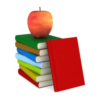 Libri apple e pila su sfondo bianco. illustrazione 3d isolata