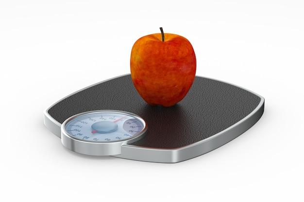 Apple e piano della bilancia su priorità bassa bianca. illustrazione 3d isolata