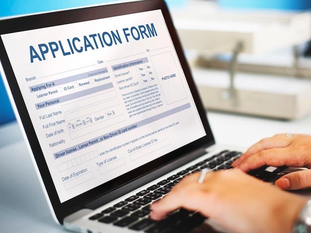 Informazioni sul modulo di domanda concetto di occupazione