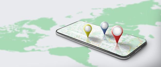 Applicazione della mappa di navigazione gps su smartphone con pinpoint mappa del percorso con posizione pinpoint