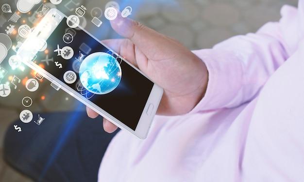 Interfaccia delle icone delle applicazioni sullo schermo. concetto di social media