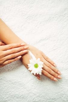 Applicazione di crema naturale su una mano su uno sfondo bianco