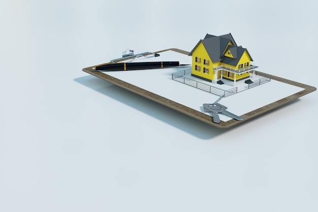 Mutuo per la casa approvato con modulo di contratto, rendering di illustrazione 3d
