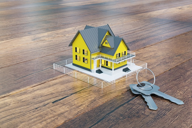 Mutuo per la casa approvato con portachiavi, rendering di illustrazione 3d