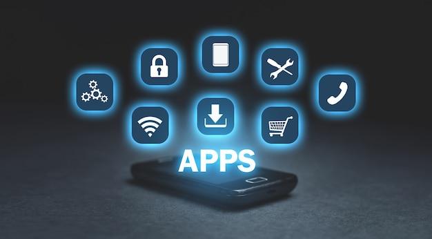 Concetto di apps. affari, internet, tecnologia Foto Premium