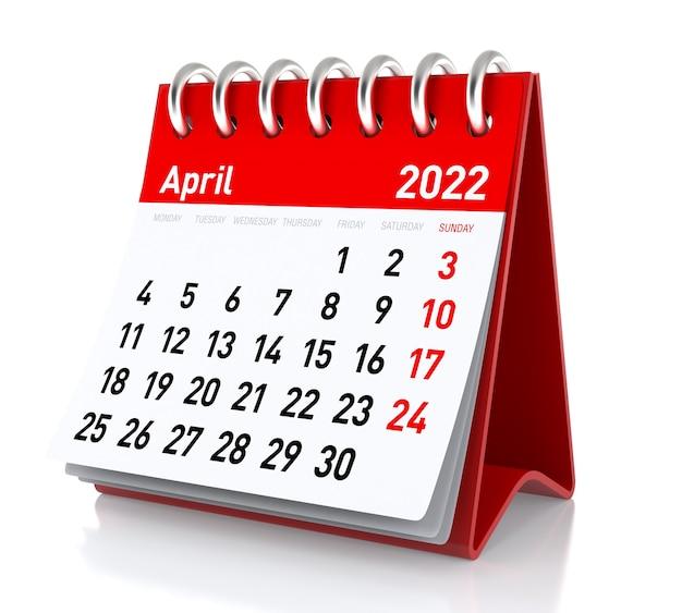 Aprile 2022 - calendario. isolato su sfondo bianco. illustrazione 3d