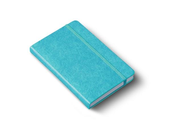 Mockup di quaderno chiuso blu acqua isolato su bianco