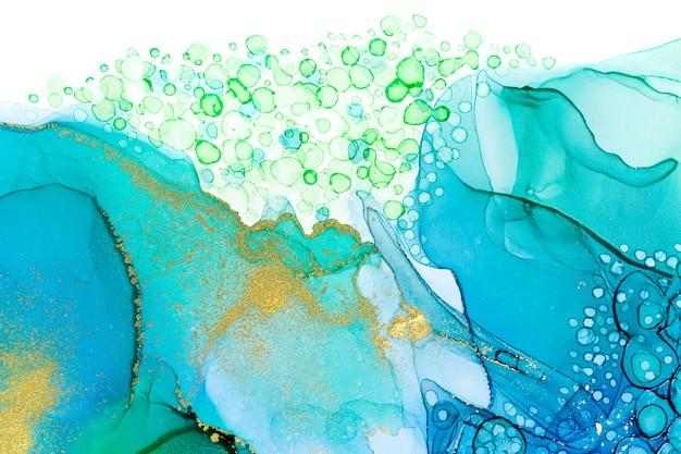 Acquamarina alcol inchiostro gradiente texture acquerello astratto con polvere d'oro