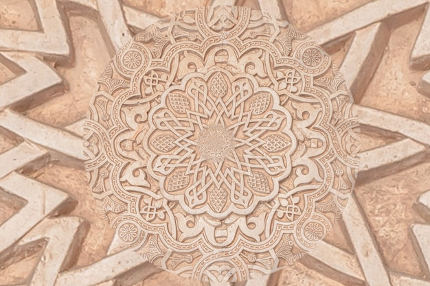 Background arabo che rimanda alla cultura islamica. design creato utilizzando l'effetto droste su un dettaglio architettonico del xiii secolo in una moschea.