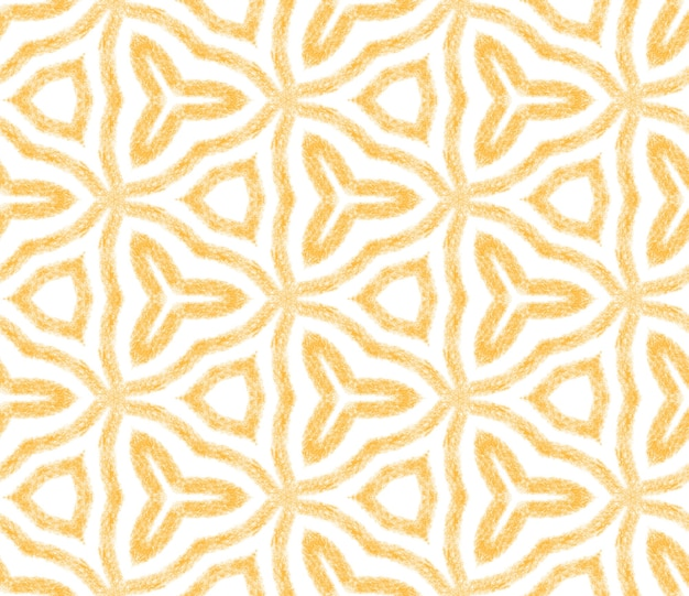 Motivo arabesco disegnato a mano. fondo giallo simmetrico del caleidoscopio. splendida stampa tessile pronta, tessuto per costumi da bagno, carta da parati, involucro. disegno disegnato a mano arabesco orientale.