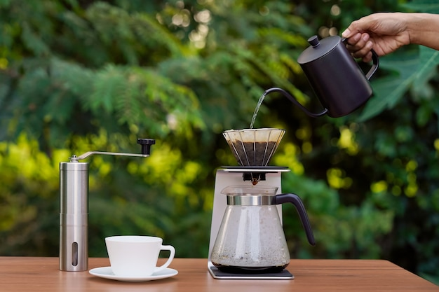Arabica in grani e set da caffè americano