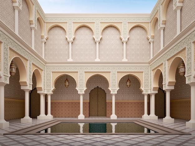 Cortile in stile arabo islamico con laghetto