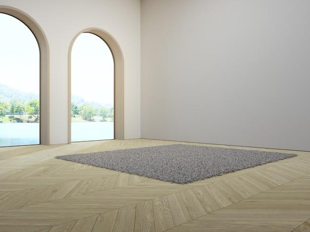 Finestra ad arco vicino a un tappeto bianco su un pavimento in parquet di legno vuoto di un luminoso soggiorno in una casa moderna
