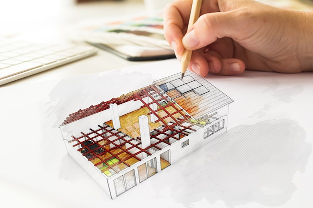 Schizzo di casa delineato disegno di architech