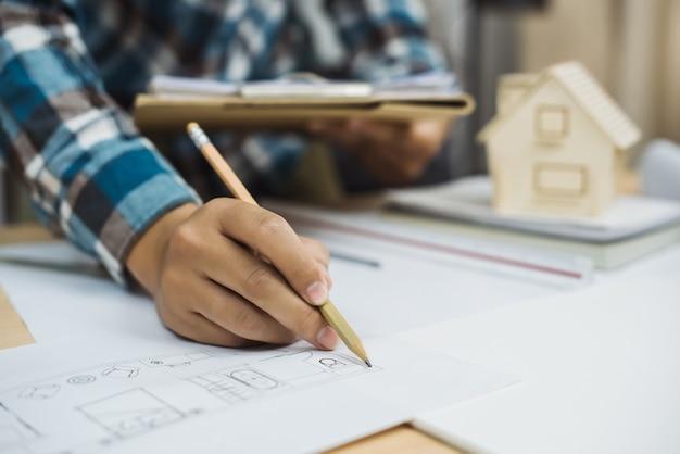 Concetto di discussione del progetto di progettazione dell'architetto