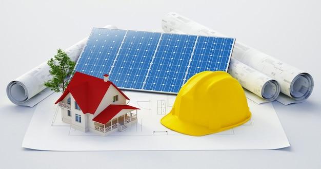Architetti sul posto di lavoro. strumenti architettonici. concetto di costruzione. strumenti di ingegneria. illustrazione di rendering 3d