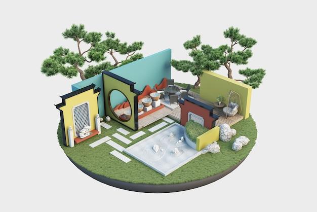 Illustrazione del modello di taglio architettonico con lavori interni