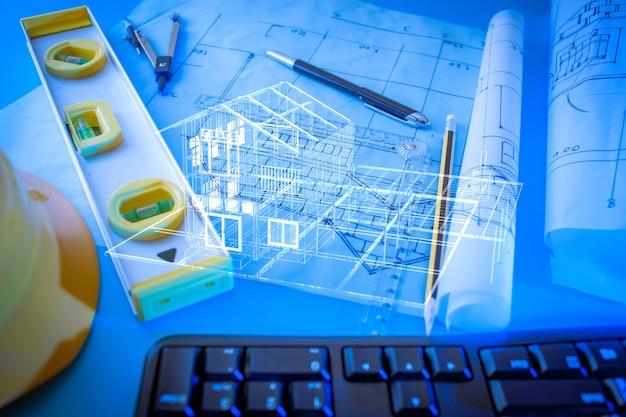 Progettazione architettonica e disegni delle cianografie di progetto con l'esterno della casa 3d.