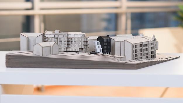 Modello architettonico dettagliato del futuro quartiere residenziale.