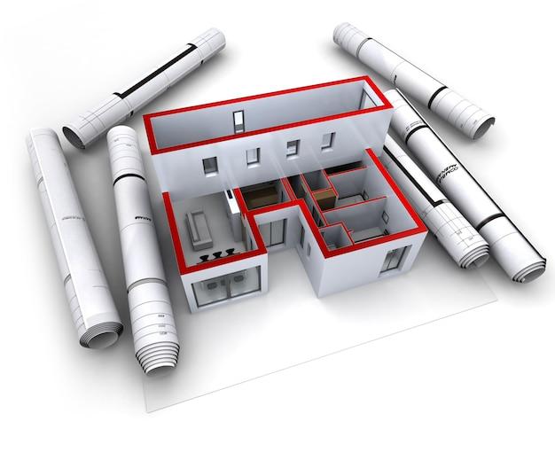 Modello architettonico di una casa di designer con progetti arrotolati