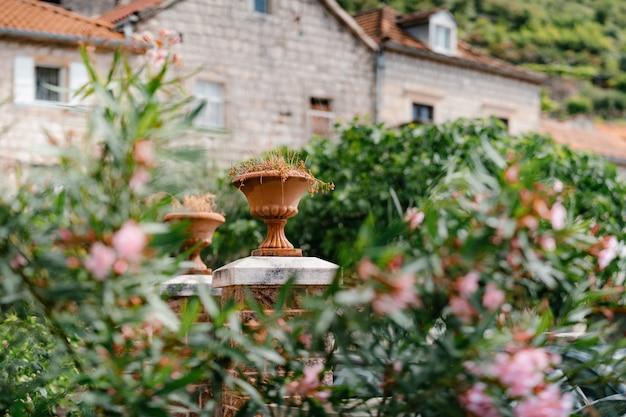 Vaso architettonico su colonne di pietra in giardino sullo sfondo della casa. foto di alta qualità