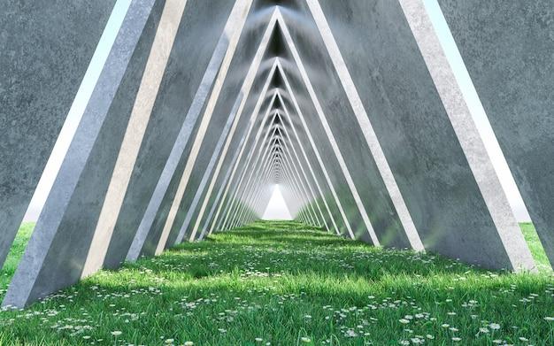 Corridoio di architettura con prato inglese. progettazione concettuale. rendering 3d
