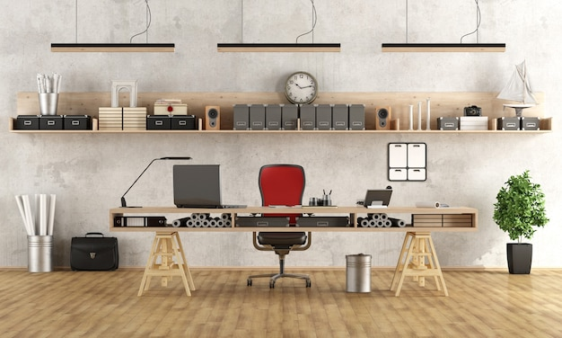 Luogo di lavoro di architettura o ingegneria con uno stile minimalista