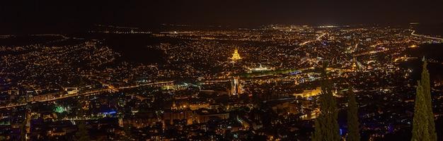 Architettura e monumenti della città di tbilisi di notte. viaggio in georgia