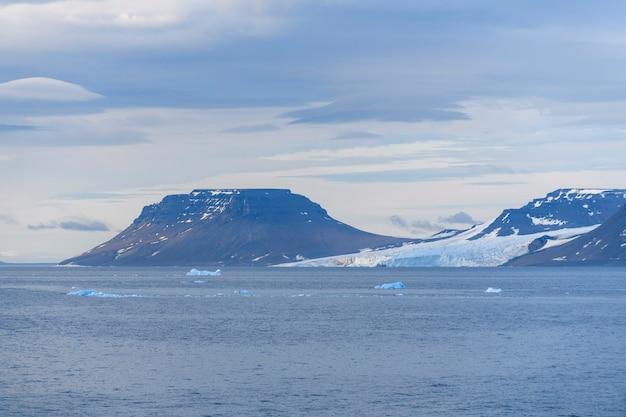Paesaggio artico in estate. arcipelago di franz jozef land. capo flora, isola di gukera. rubini rock.