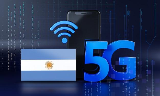Argentina pronta per il concetto di connessione 5g. sfondo di tecnologia smartphone rendering 3d