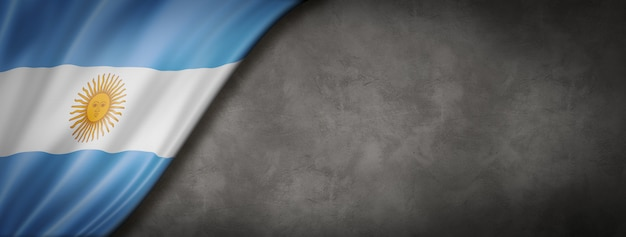 Bandiera argentina sul muro di cemento