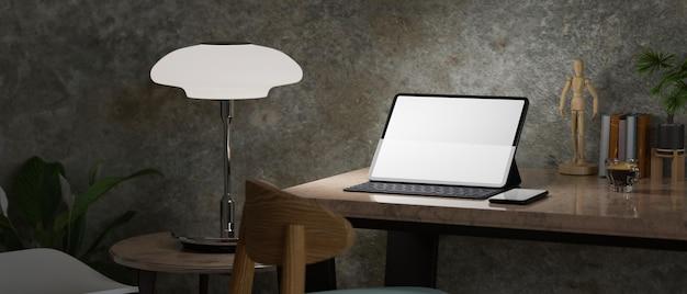 Arca hipster moderno spazio di lavoro grunge lucido parete loft tablet digitale mockup 3d rendering