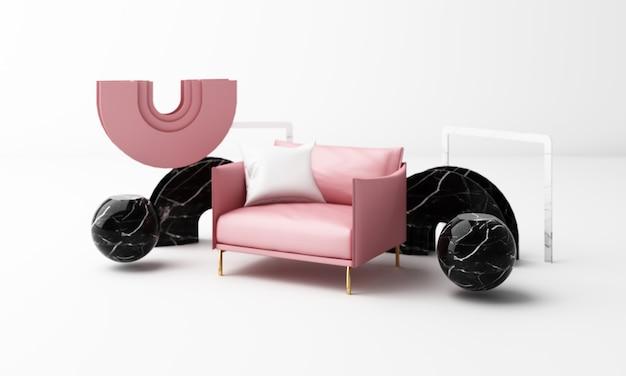 Seduta poltrona dalla forma geometrica con struttura in marmo rendering 3d