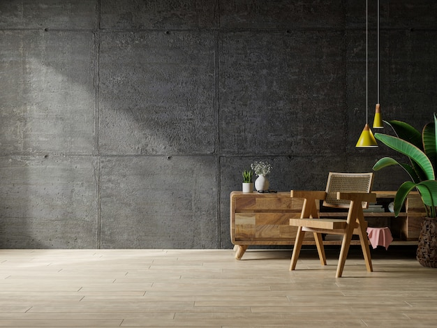 Poltrona e un armadio in legno all'interno del soggiorno con pianta, muro di cemento. rendering 3d