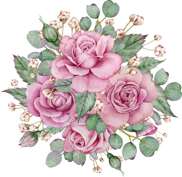 Disposizione delle rose rosa con foglie verdi e rami di eucalipto. illustrazione floreale dell'acquerello colorato.
