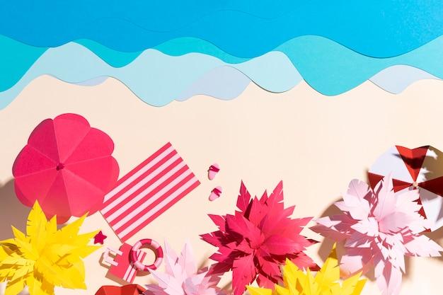 Disposizione della spiaggia estiva realizzata con materiali diversi