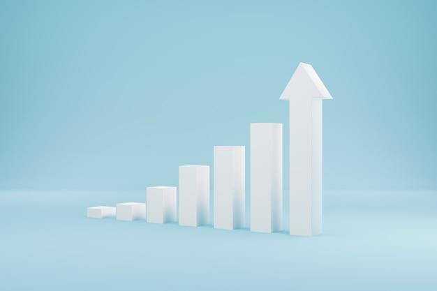 Scala del gradino di crescita del segno del grafico della freccia che si alza su sfondo azzurro