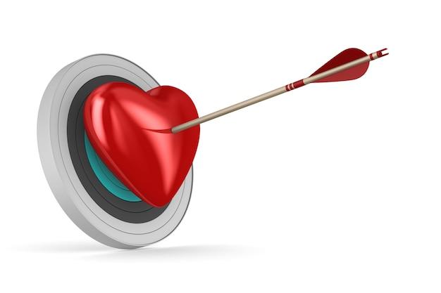 Freccia e cuore su uno spazio bianco. illustrazione 3d isolata