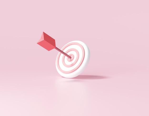 La freccia ha colpito il centro del bersaglio. concetto di raggiungimento dell'obiettivo aziendale. 3d render illustrazione