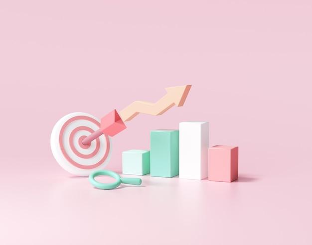 La freccia ha colpito il centro dell'obiettivo e del grafico azionario. concetto di raggiungimento dell'obiettivo aziendale. 3d render illustrazione