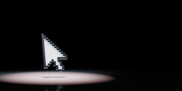 Puntatore del mouse a freccia sotto i riflettori isolato
