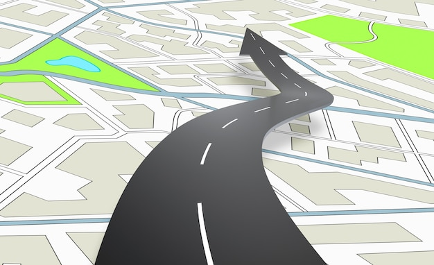 Strada a forma di freccia che indica la direzione sopra una mappa di navigazione. rendering 3d