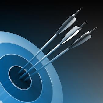 Frecce che colpiscono il centro dell'obiettivo - concetto di affari di successo