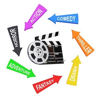 Frecce con stili di cinema intorno a bobina di film con nastro cinematografico vicino a assicella su sfondo bianco. rendering 3d.