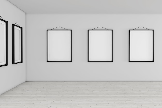 Museo della galleria d'arte con il primo piano estremo dei telai del mockup del cartello in bianco bianco. rendering 3d