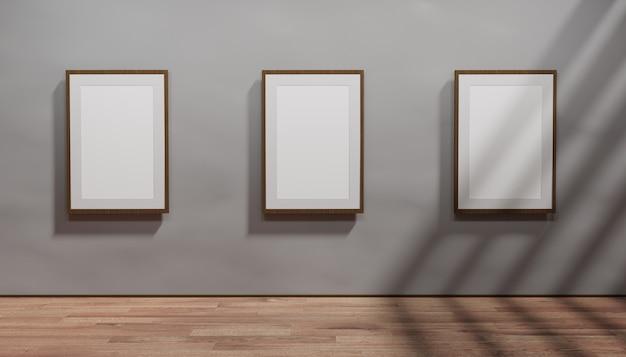 Galleria d'arte con mockup di cornici nere museo della hall of fame pavimento in legno e carta da parati in cemento